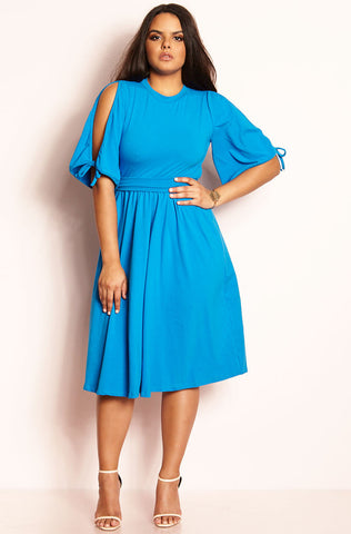 "Rebdolls ""Command Attention"" Cold Shoulder Mini Dress"