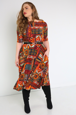 Orange Boat Neck Skater Midi Dress Plus Sizes