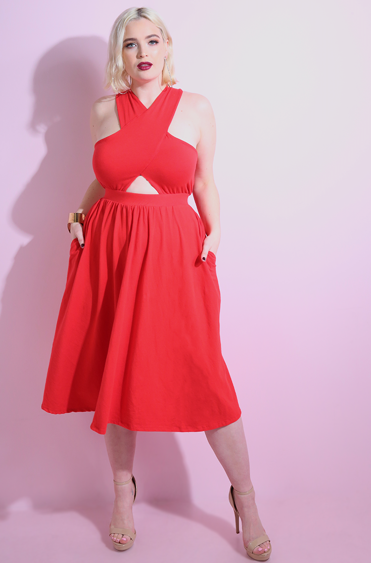 "Rebdolls ""The Little Things"" Cut-Out Skater Midi Dress With Pockets"