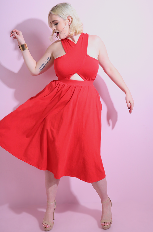 Red Cut-Out Skater Midi Dress With Pockets plus sizes