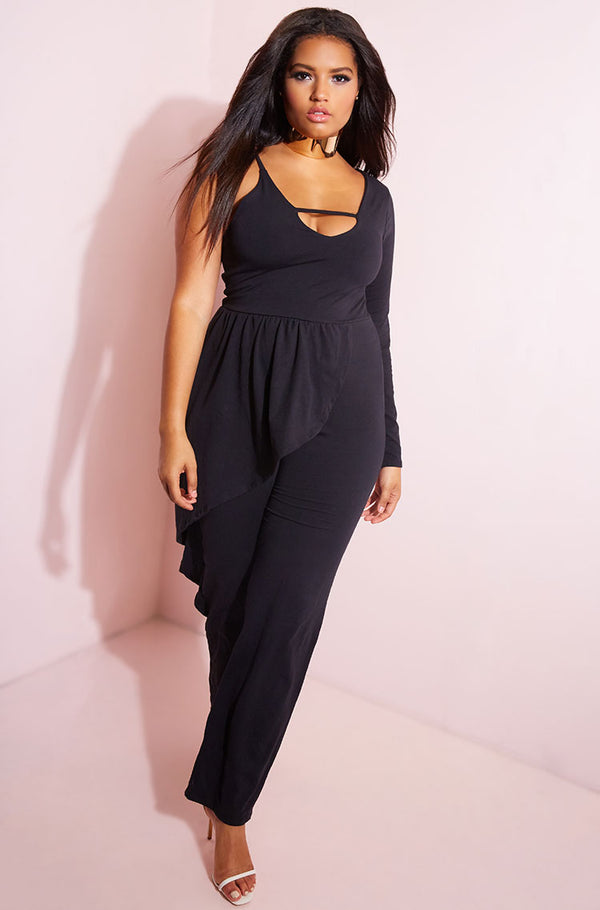 Black Caged Peplum Jumpsuit plus sizes