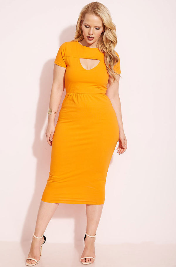 Orange Keyhole Bodycon Midi Dress plus sizes