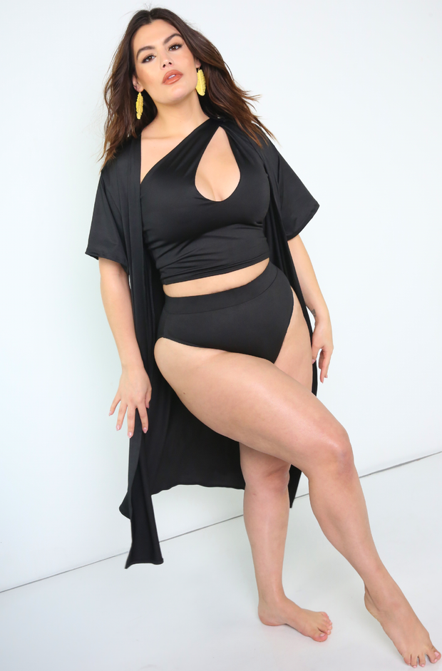 Black Oversized Swimsuit Cover Up Kimono Plus Sizes