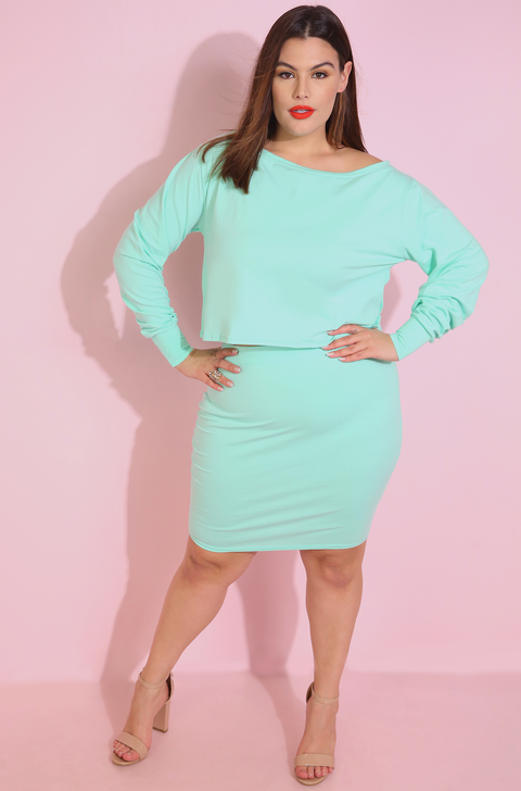 Mint Bodycon Mini Skirt Plus Sizes