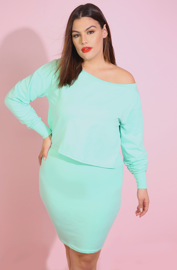 Mint Over The Shoulder Top Plus Sizes