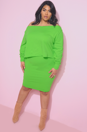 Lime Green Bodycon Mini Skirt Plus Sizes
