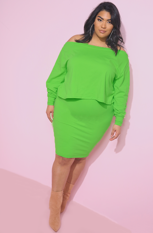 Lime Green Over The Shoulder Top Plus Sizes