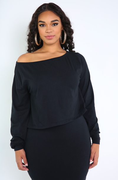 Black Over The Shoulder Top Plus Sizes