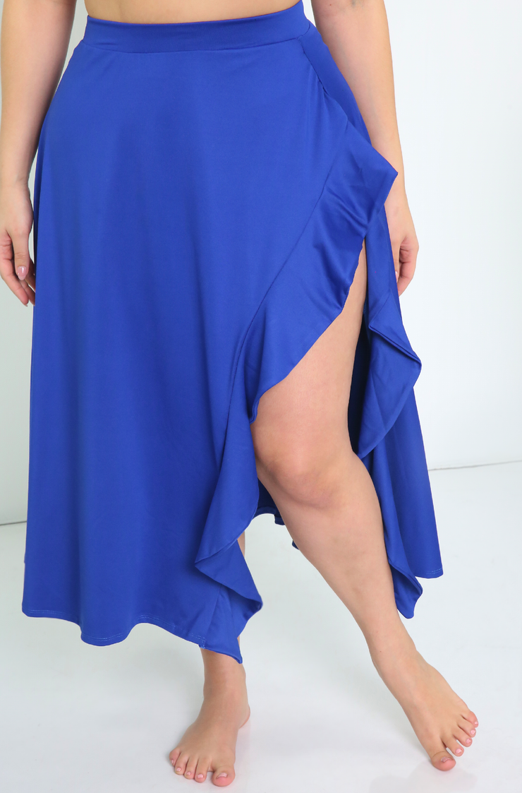 Royal Blue Ruffled High Slit Midi Skirt Plus Sizes