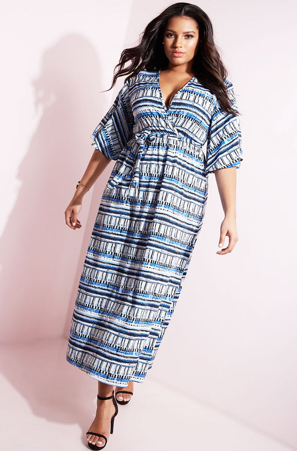 Blue Kimono Sleeves Maxi Dress plus sizes