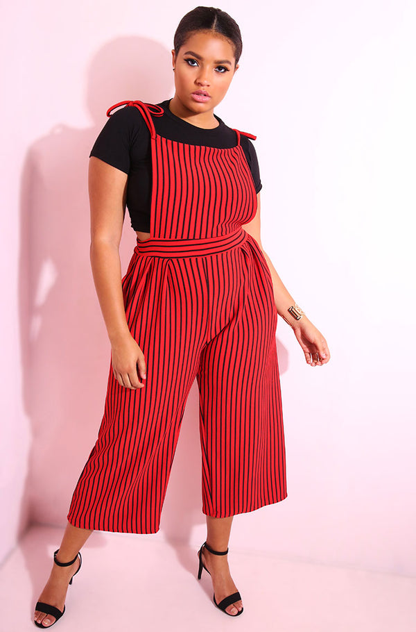Red Overall Style Culotte Jumpsuit plus sizes