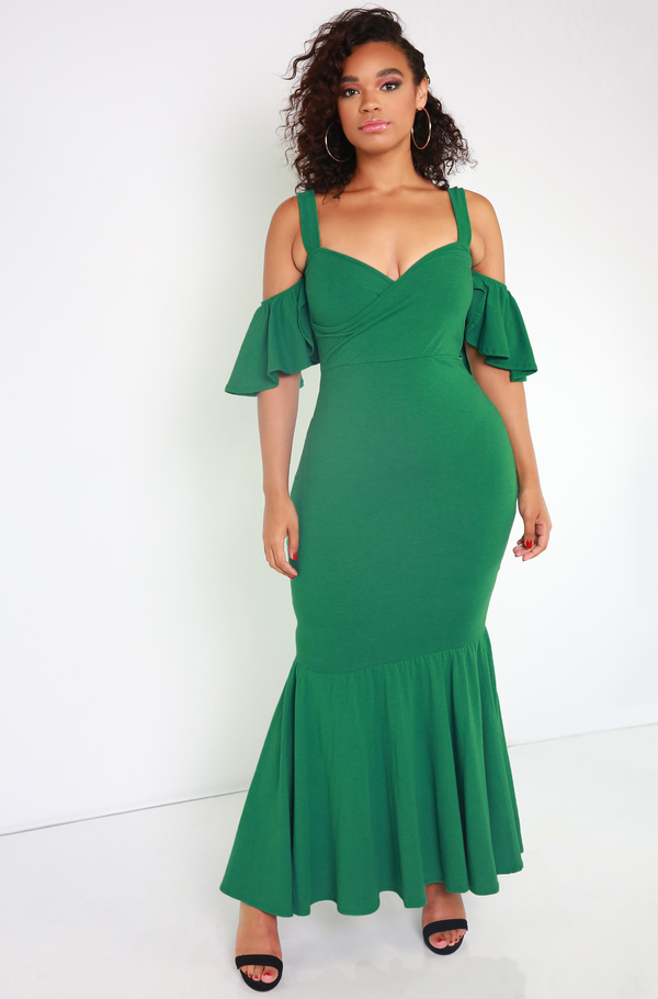 Green Mermaid Sweetheart Maxi Dress Plus Sizes