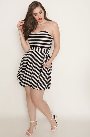 "Rebdolls ""When I Used To Love You"" Striped Cut-Out Midi Dress - FINAL SALE CLEARANCE"