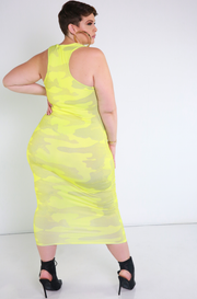 Neon Yellow Racerback Midi Dress
