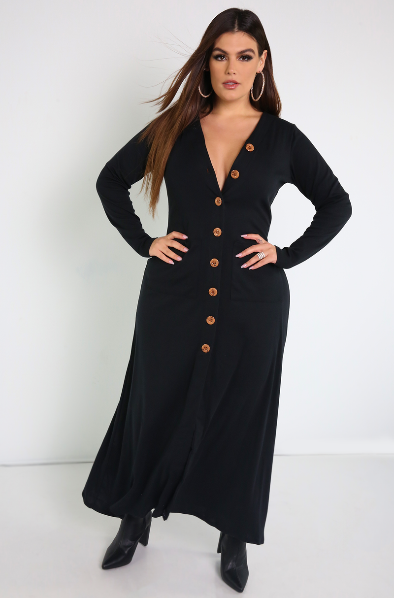 Black Button Down Maxi Dress Plus Sizes