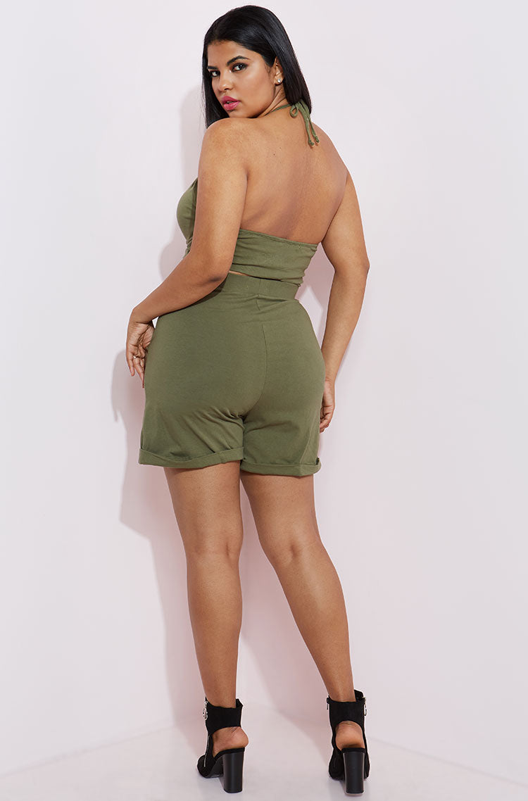 Olive Cargo Shorts With Pockets plus sizes