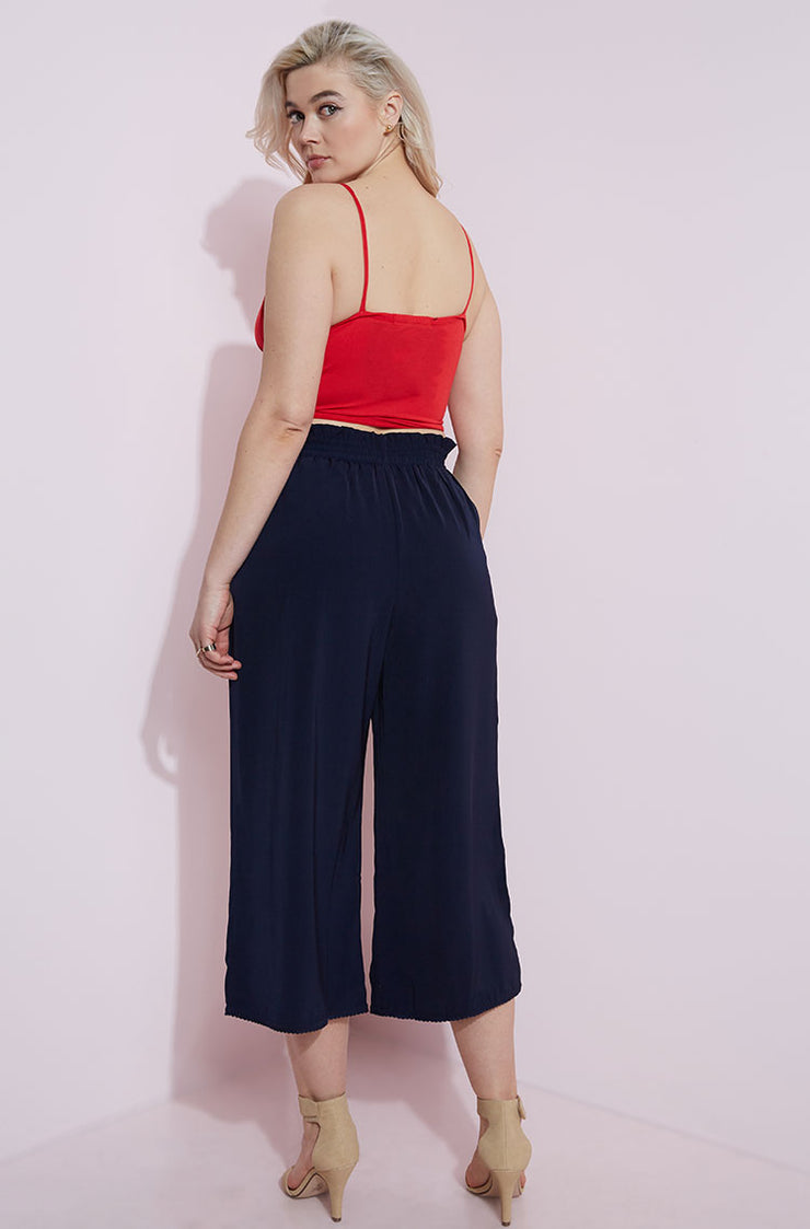 Navy Tied Waist Culotte Pants Plus Sizes