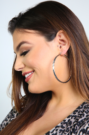 Silver Rope Hoop Earrings