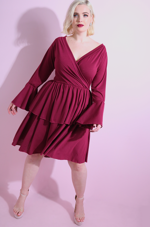 Burgundy Double Hem Skater Mini Dress plus sizes