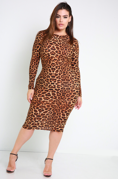 Leopard Bodycon Midi Dress Plus Sizes