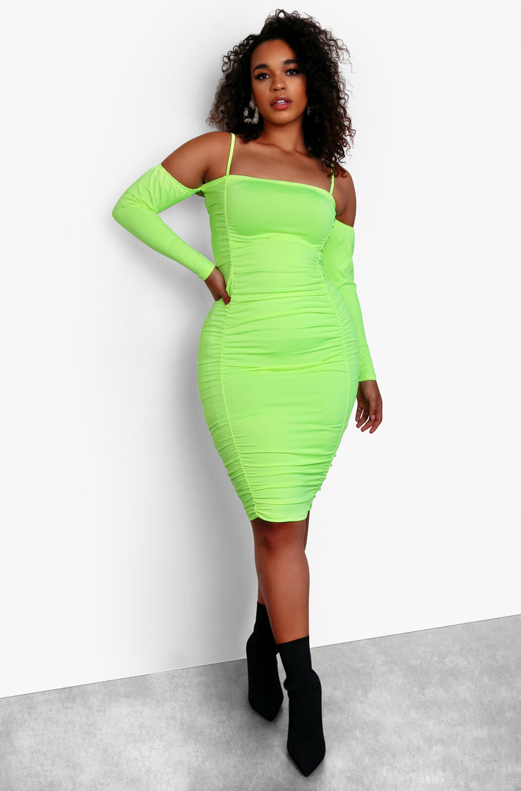 Neon Green Cut Out Long Sleeve Ruched Bodycon Mini Dress Plus Sizes
