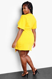 Mustard Kimono Sleeves Wrap Dress Plus Sizes