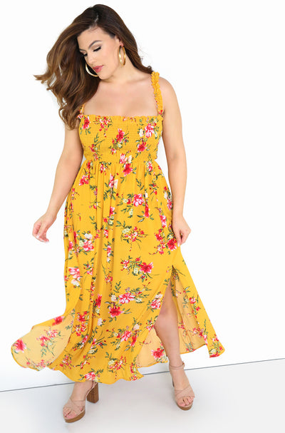 Mustard Smocked Skater Bodice Maxi Dress Plus Size