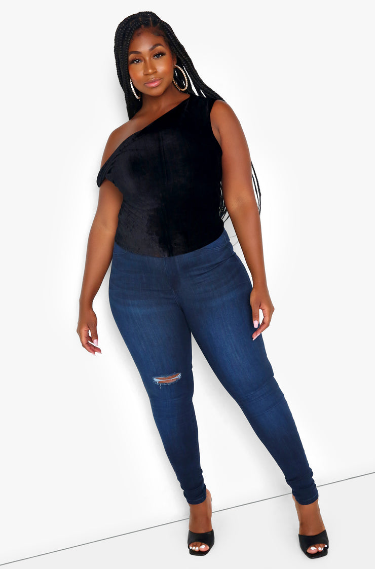 "Rebdolls ""The Main Event"" Velvet Off The Shoulder Top - Black"