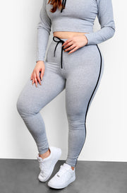 Gray Hoodie Crop Top & Leggings Set Plus Sizes