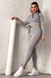 "Rebdolls ""The Movement"" Hoodie Crop Top & Leggings Set - Gray"