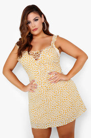 Yellow Floral Shift Mini Dress Plus Sizes