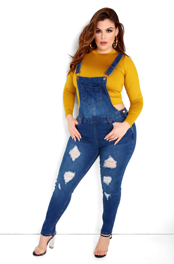 Blue Overall Skinny Jeans  Plus Size