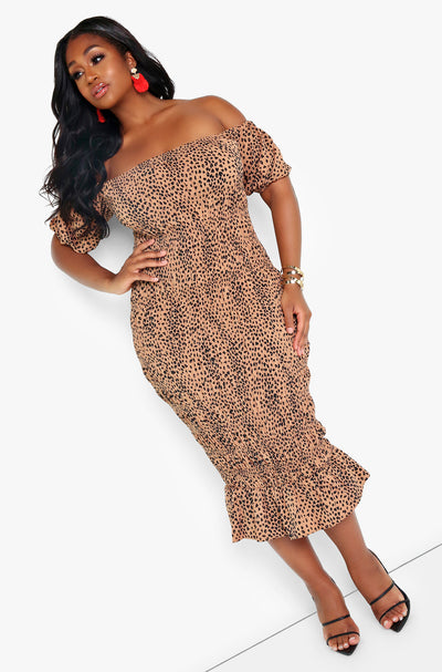 Brown Puff Sleeve Smocked Midi Dress Plus Sizes