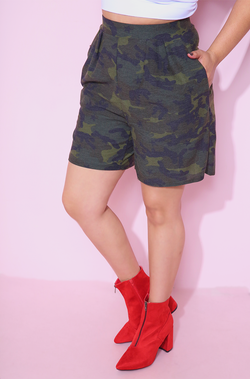 Camouflage Army Print Shorts With Pockets