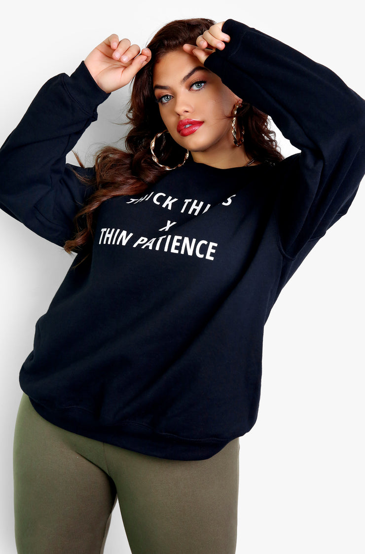 Black Long Sleeve Graphic Sweatshirt Plus Sizes