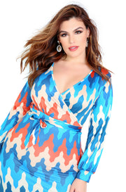 Blue Long Oversized Sleeve Maxi Dress Plus Sizes