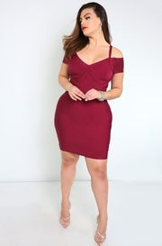 Burgundy Mocked Corset Bandage Mini Dress Plus Sizes