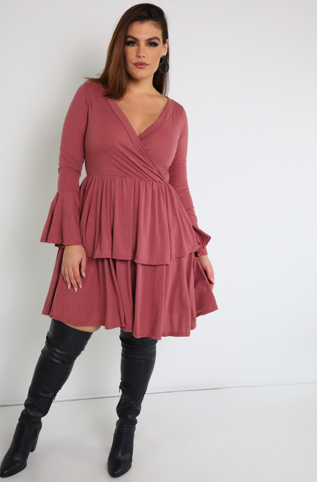 Brick Dust Bell Sleeve Double Hem Skater Mini Dress Plus Sizes