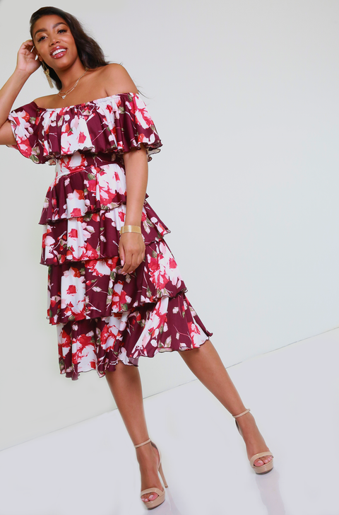 Burgundy Multi Ruffled Midi Dress Plus Sizes