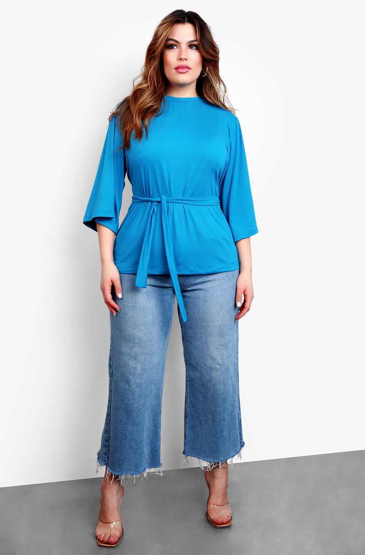 Turquoise Kimono Sleeve W. Waist Tie Top Plus Sizes