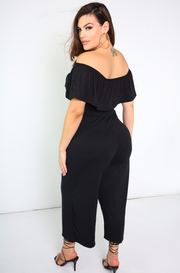 Black Over The Shoulder Cropped Jumpsuit w. Pockets Plus Size