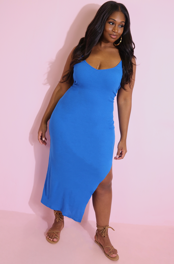 Royal Blue V-Neck Maxi Dress Plus Sizes