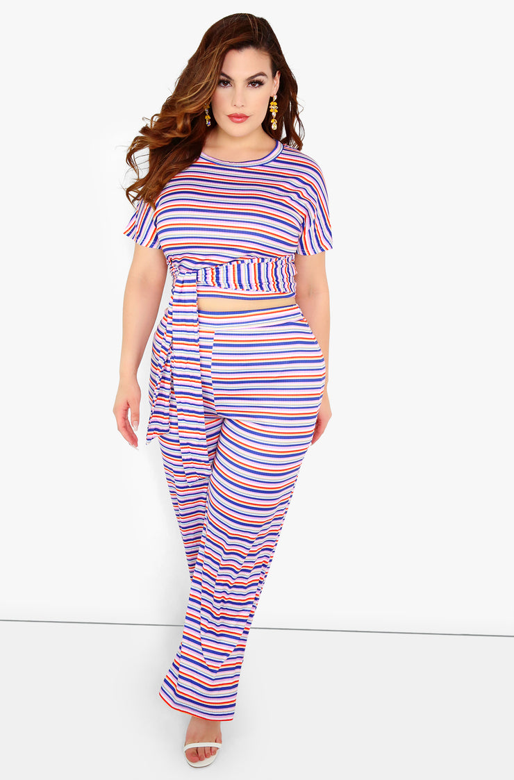 Blue Striped Crop Top Plus Sizes