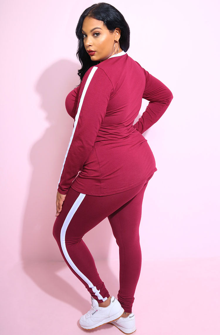 Burgundy One Stripe Long Line Top plus sizes