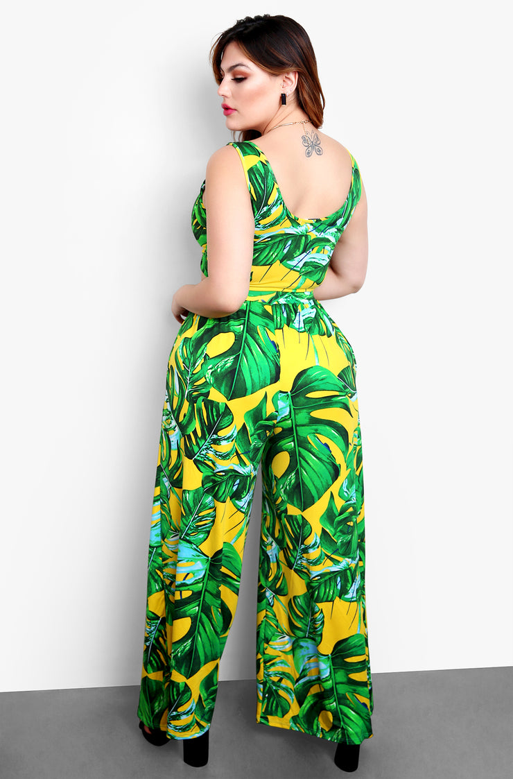 Green Tropical Print Wide Leg Pants Plus Sizes
