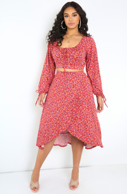Red Ruffled Floral Midi Skirt Plus Sizes