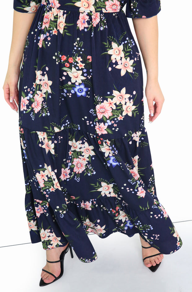 Navy Floral Over The Shoulder Maxi Dress Plus Size