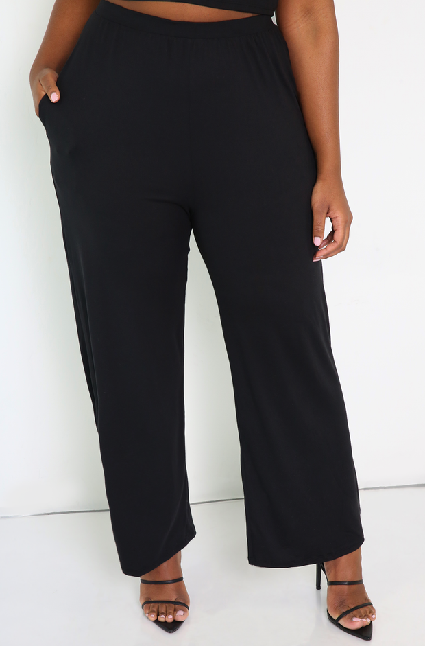 Black Palazzo Pants With Pockets Plus Sizes