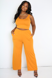 Orange Palazzo Pants With Pockets Plus Sizes