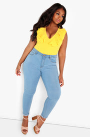 Yellow Ruffle V-Neck Bodysuit Plus Sizes